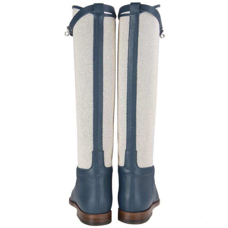 56731 auténtico Hermes Cobalto azul Cobalto Hermes Cuero y lona de salto botas Zapatos 40 d8f6d5