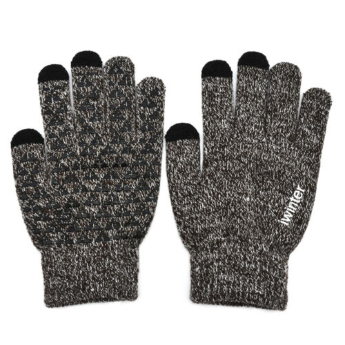 Simple Men Male Soft Winter Warm Touchscreen Fleece Lined Thermal Knitted Gloves