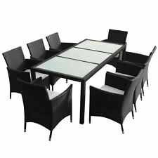 9-Piece Outdoor Patio Rattan Furniture Garden Dining Set w/ Cushions Black