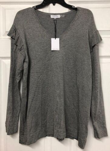 con Klein larga en suéter M gris V de Calvin Nwt manga talla cuello w1qXn