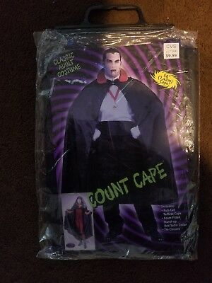 "56/"" Black Cape With Stand-Up Collar Adult Halloween Costume Vampire Witch Unisex"