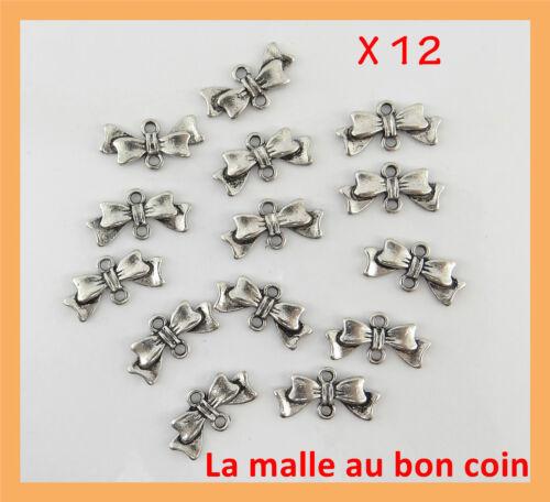 LOT DE 12 CONNECTEURS DOUBLE NŒUD PAPILLON EN MÉTAL ARGENTÉ,perles bijoux-co029
