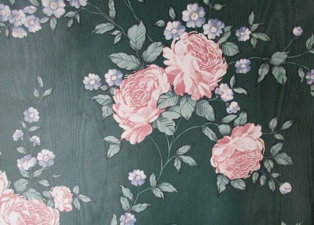 Textured Flowers Floral Dark Green Turquoise Rose Gold Vintage Wallpaper Border