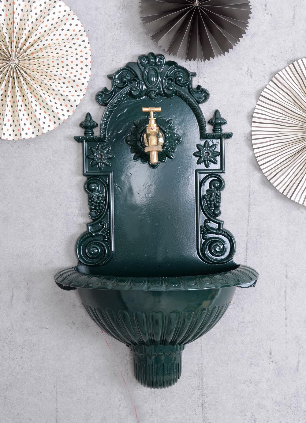 Fuente de parojo históricos Jardín Fuente verde Con Dispensador De Agua Grifo de Latón