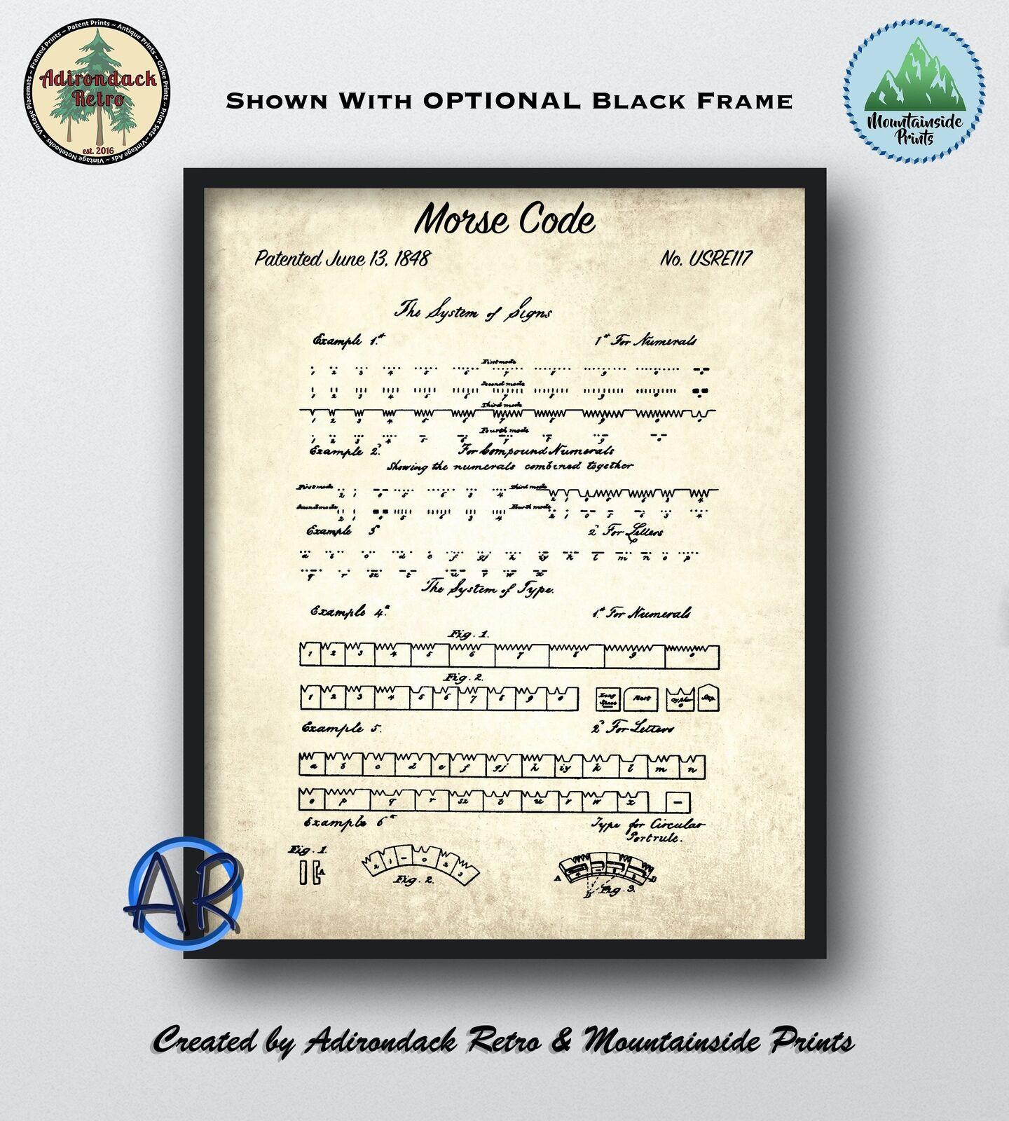 1848 Morse Code Patent Art Print  -  Vintage Blauprint Art Poster