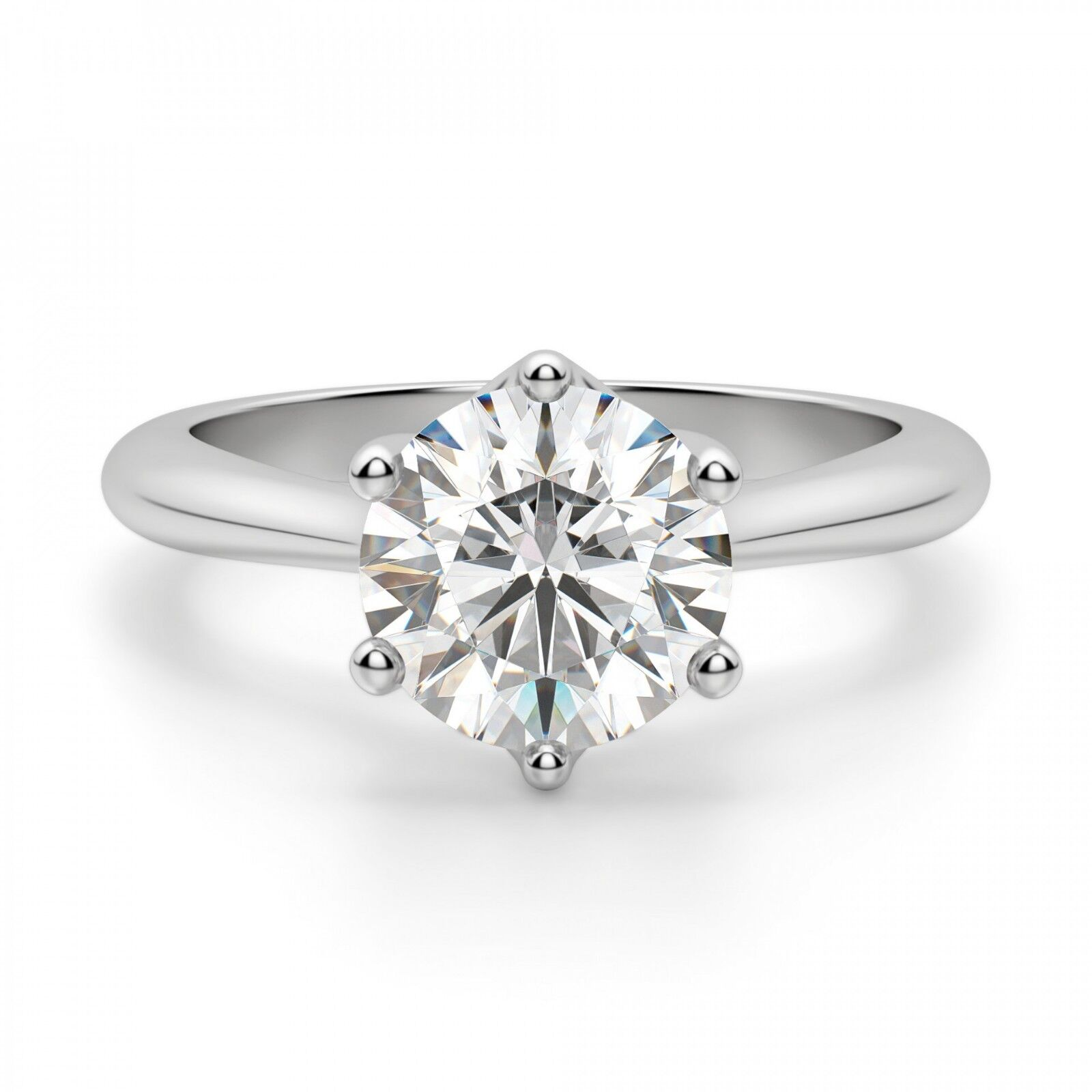 Solid 14K White gold Rings 2.00 Ct Round Solitaire Moissanite Engagement Ring 08