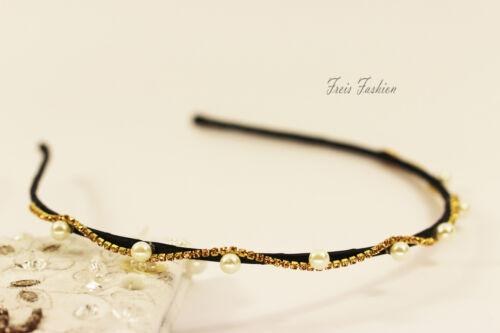 Haarreif Haarreifen Tiara Diadem Perlen Strass Kopfschmuck Haarschmuck A206