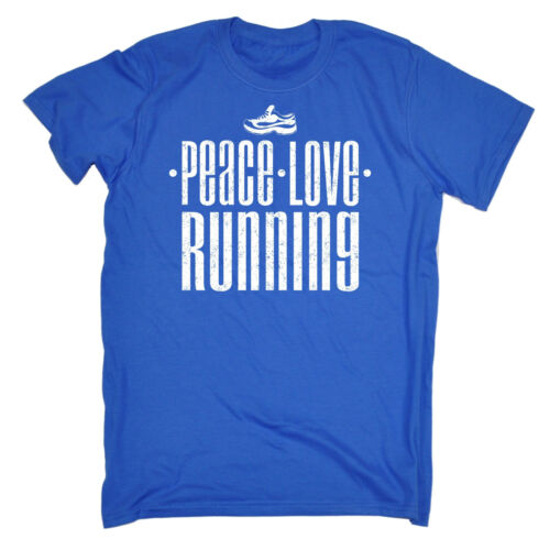 PEACE Love Running T-Shirt Jogging Fitness Palestra Training Tee Regalo Di Compleanno Divertente