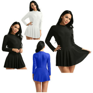 Adult-Women-Ballet-Long-Sleeve-Dress-Gymnastics-Skating-Leotard-Skirt-Dance-Wear