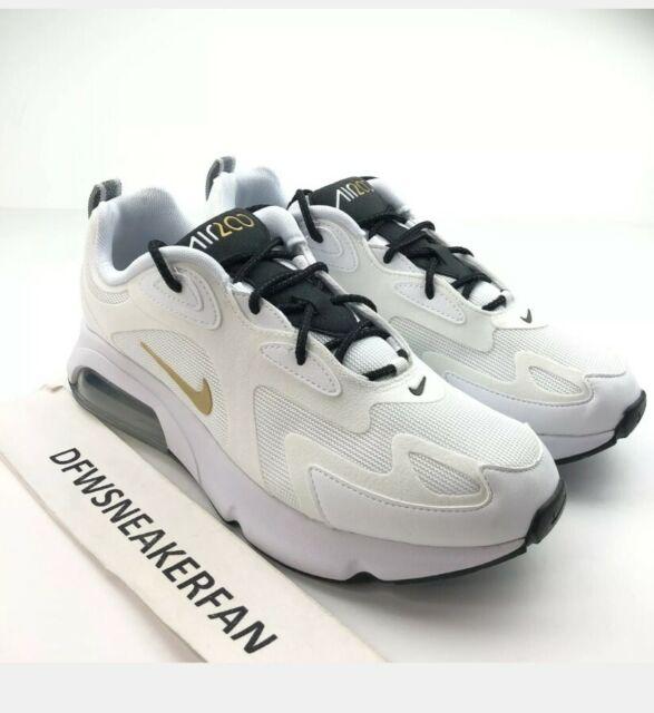 Nike Air Max 200 White Gold Black Mens Running Shoes SNEAKERS AQ2568102 Sz  10