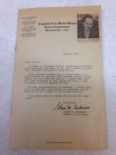 Glenn M. Anderson US House of Representative Pamphlet 1973?