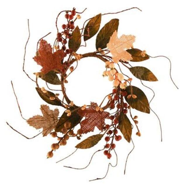 "5 1/2"" D BURLAP MAPLE AUTUMN LEAVES BURGUNDY CREAM BERRIES CANDLE RING WREATH"