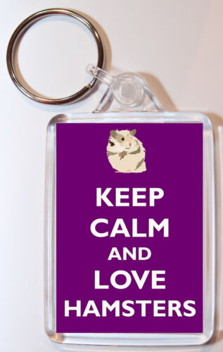 Double Sided Large Keyring Gift//Present Keep Calm and Love Hamsters