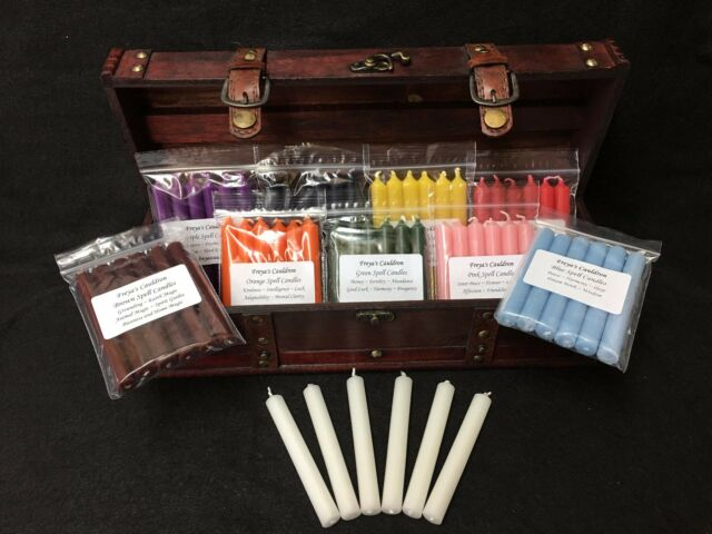 Witches Spell Candle Chest with 60 Candles and Colour Correspondence Information