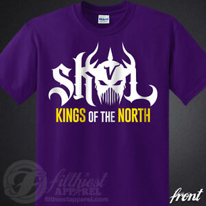 4bfc0fc2 Details about SKOL Vikings T-Shirt Kings Shield The North Chant Minnesota  Football Fan Jersey