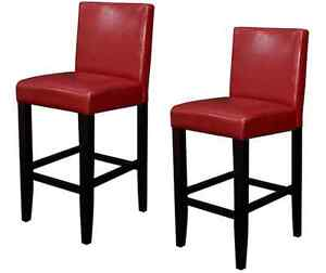 Pleasant Details About 2 Deep Red Leather Bar Stool Set Counter Height Padded Seats Contemporary Decor Gmtry Best Dining Table And Chair Ideas Images Gmtryco