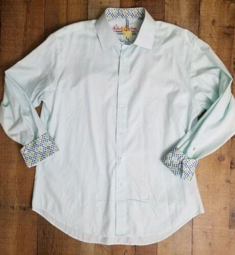 Robert Graham XL Baby Blue Flip Cuff Dress Shirt B
