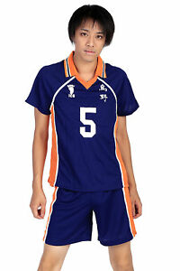 Karasuno High School Uniform Cosplay Ryunosuke Tanaka Shirt Shorts Haikyuu!