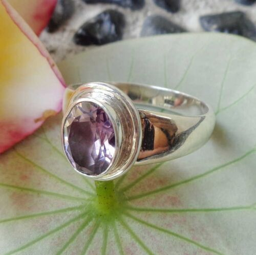 Amethyst Solid Silver 925 Bali Handcrafted Plain Design Ring 38893