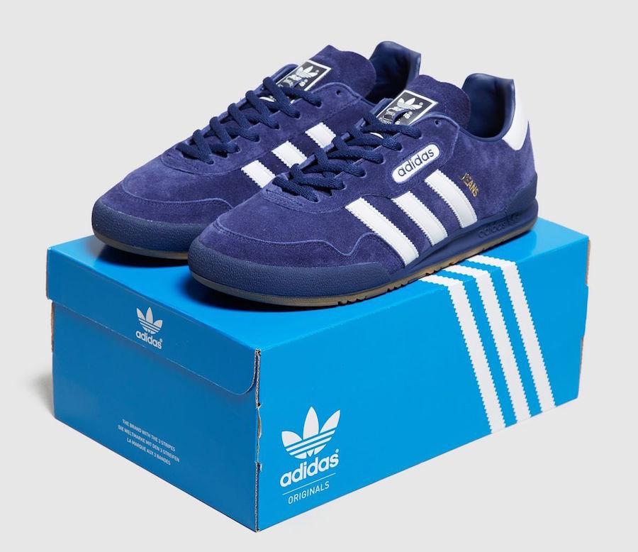 Adidas Jeans Super par Adidas bleu foncé Daim Taille 9 Entièrement neuf dans sa boîte-