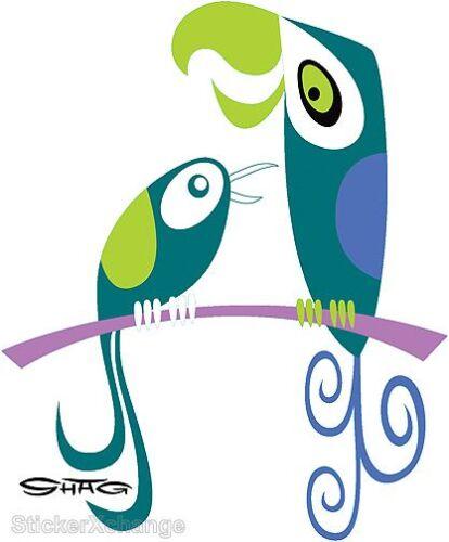 Exotic Birds STICKER Decal Shag Hawaiian Parrot Macaw Art SH110