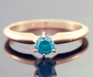0-33ct-Genuine-Blue-Diamond-Solitaire-Engagement-Yellow-Solid-14K-14KT-Gold-Ring