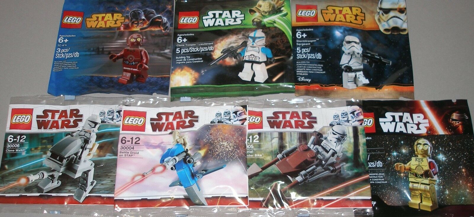 7x LEGO Star Wars 2x Stormtrooper, 2x Clonetrooper, Battle droide, tc-4, c3po