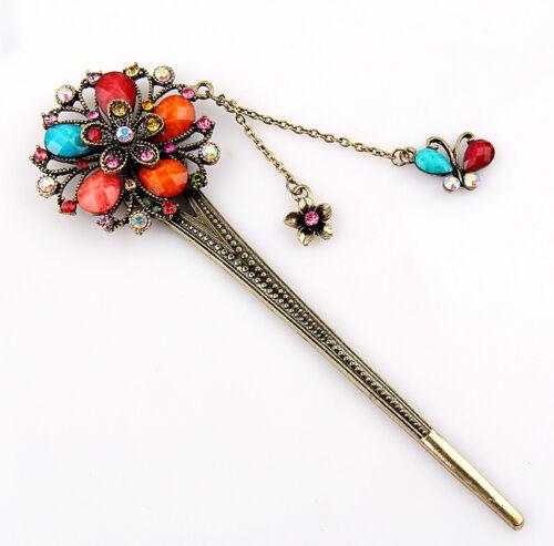 Élégant charme Bobby Pin Papillon Fleur épingle à cheveux coloré Crystal Hair Stick