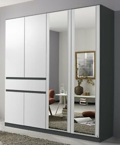 Home & Garden Fashion Style Kleiderschrank 6-trg./1 Schubkasten DrehtÜrenschrank Grifflos Grau Weiss Neu Strong Resistance To Heat And Hard Wearing