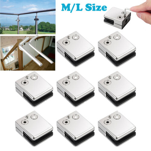 8X Glass Clamp Stainless Steel 304 Clip Flat Back Bracket Balustrade M//L Size UK