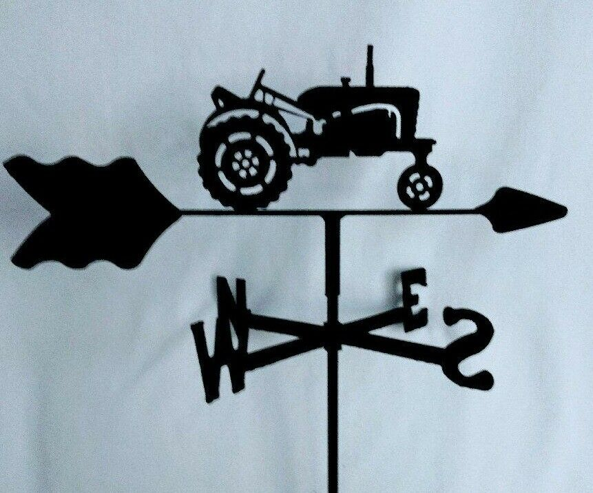 Farm Tractor Garden Style Weathervane Black Wrought Iron Look Made in USA