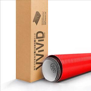 """VViViD Red Carbon Fiber RCF3M01 1.5ftx5ft 18""""x60"""" Vinyl Wrap Air Release Tech"""