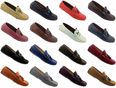 MENS CASUAL MOCCASIN/LOAFER TASSEL SHOES COMFORT DRIVING SOLE- faux suede & synt