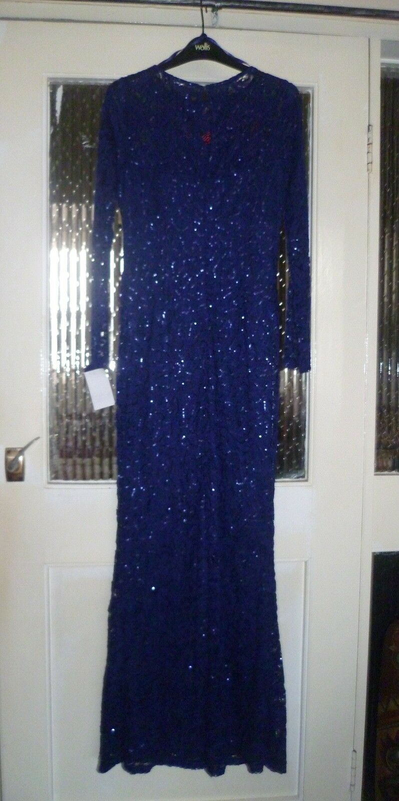 MARINA NAVY SPARKLY & LACE FULL LENGTH SPECIAL OCCASION  DRESS,UK S,BRAND NEW
