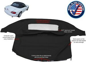 MAZDA-MIATA-Convertible-Soft-Top-amp-Heated-Glass-Window-Black-Cabrio-1990-2005