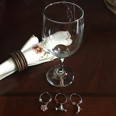 4 WINE GLASS MARKER CHARMS COCKTAIL PARTY TABLE DECORATION Fast FREE USA S&H