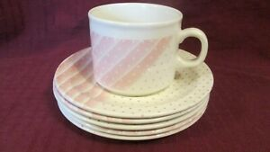 Vintage-Churchill-034-Pink-Shades-034-5-Saucers-1-Cup-Made-in-England-Retired