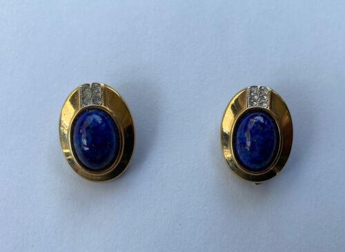 VINTAGE LANVIN CABOCHON EARRINGS BLUE STONE GOLD … - image 1