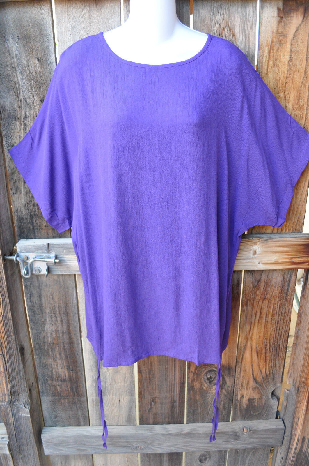 ART TO WEAR MISSION CANYON BL15 TIE TUNIC IN ALL NEW SOLID PLUM, OS+,50 B