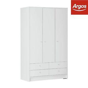 reputable site 1d1b8 128ce Details about Argos Home New Malibu 3 Door 4 Drawer Wardrobe - White
