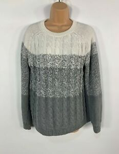 WOMENS-WOOLOVERS-WHITE-GREY-CASUAL-KNITTED-JUMPER-SWEATER-PULL-OVER-SIZE-L-LARGE