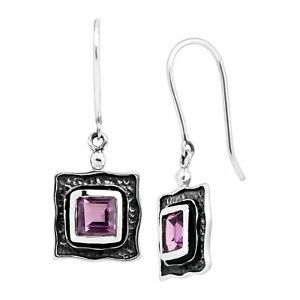 Silpada-039-Square-One-039-Natural-Amethyst-Drop-Earrings-in-Sterling-Silver