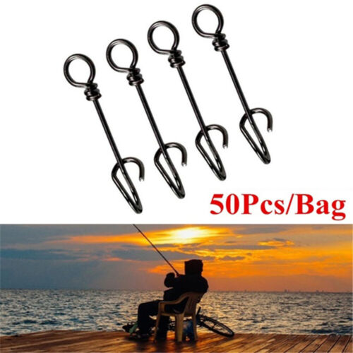 50Pcs Stainless steel Connector Fishing Fastach Clips Fishing Swivels Snaps-.
