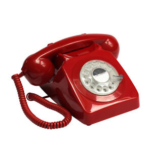 GPO-746-Telephone-Retro-Vintage-Style-Desk-Phone-Working-Rotary-Dial-Red
