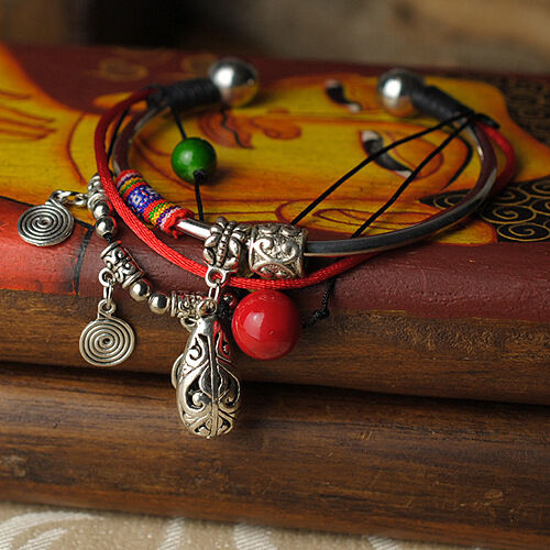 Tibetan Silver Oval Anklet Bracelet with Silk Gift Bag