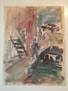 Emil-Hess-Signed-City-Scene-People-Original-Watercolor-8-x-10