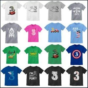 Image Is Loading Kids 3 Years Old Birthday T Shirt Party