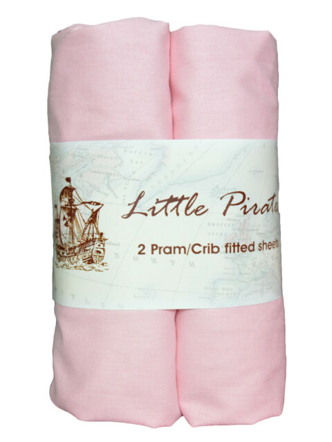 2 x Baby Pram/Crib Fitted Sheet 100% Cotton Luxury Percale Pink 40x90cm