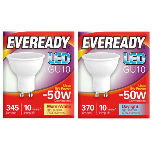 2//5x 3w 5w Eveready LED GU10 Warm Tageslicht Ersetzt 35w 50w Halogen