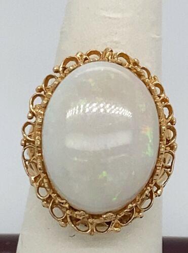 14 K Ladies Yellow Gold Opal Ring